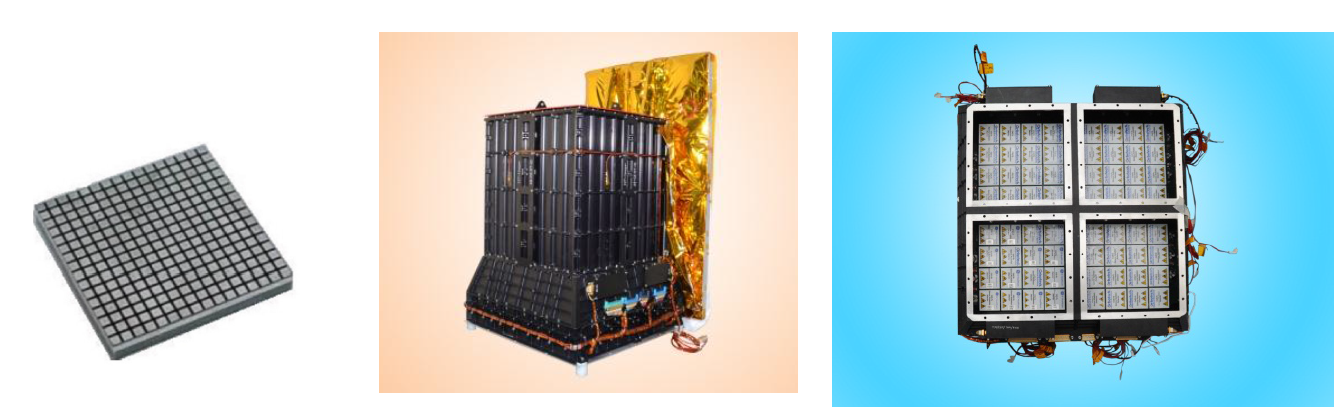 Figure	1:	(From	left)	The	CZT	detector	module;	The	fully	assembled	payload;	 the	assembled	detector	quadrants