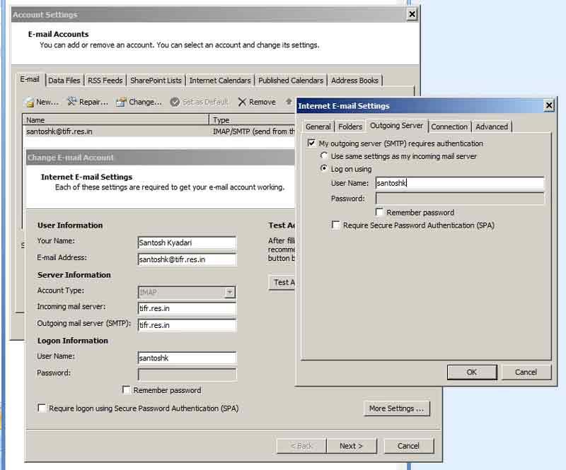 Authenticating Outgoing SMTP server